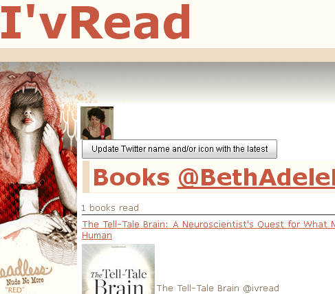 I'vRead - use Twitter to track books you read